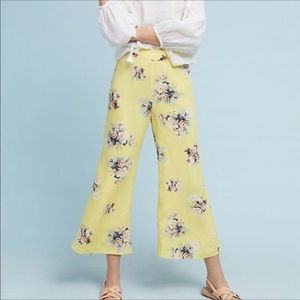 Anthro Feather & Bone yellow floral flare pants